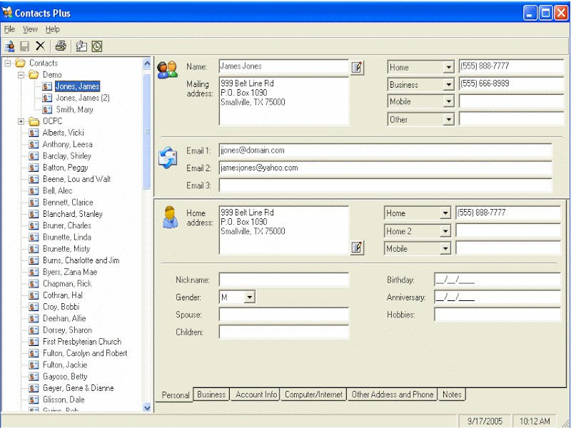 Standalone address book for Microsoft Outlook contacts.