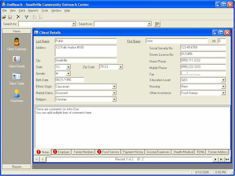 Click to view OutReach Community Assistance Database 1.5.2 screenshot