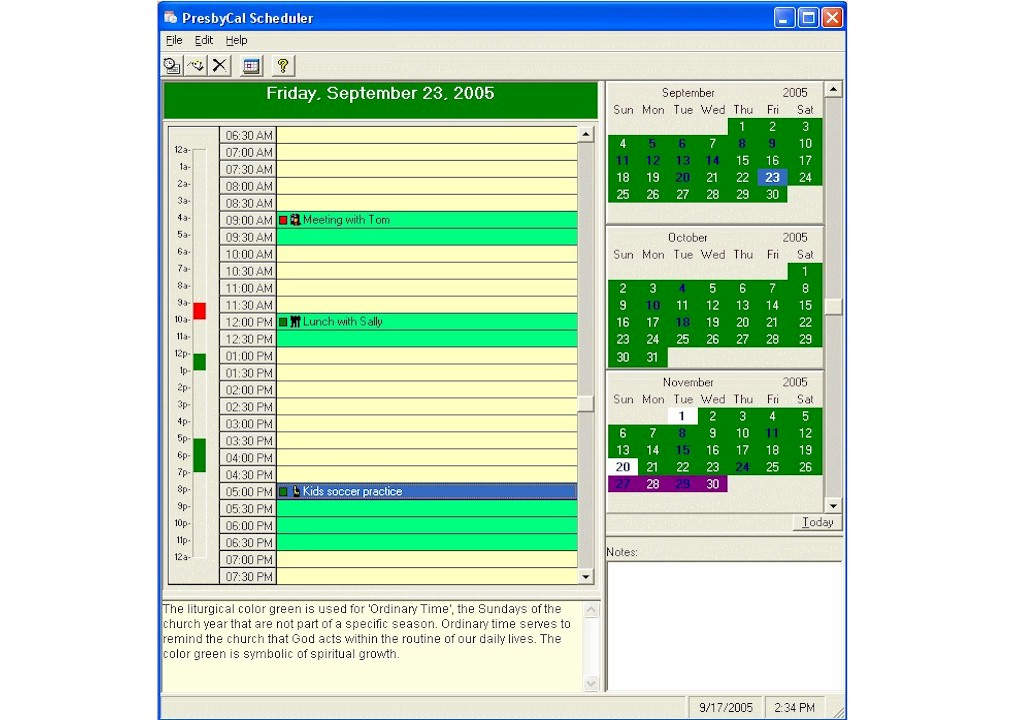 PresbyCal Desktop Calendar  is a full-featured calendar and event scheduler.